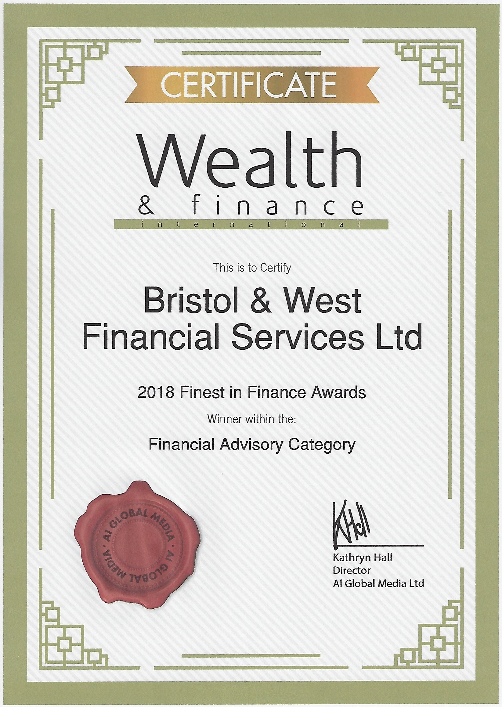 Award for Bristol & West FS ltd